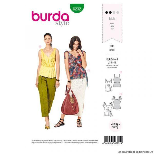 Patron Burda n°6232: Top effet croisé – bretelles élastiques – bretelles à noue