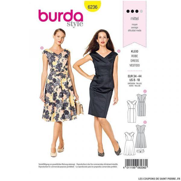 Patron Burda n°6236: Robe à effet croisé