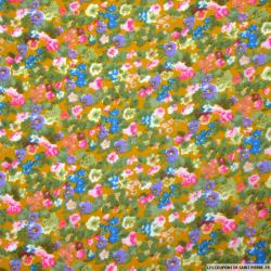 Double gaze imprimé fleurs aquarelle moutarde