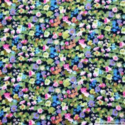 Double gaze imprimée fleurs aquarelle marine