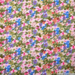 Double gaze imprimée fleurs aquarelle rose poudre