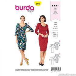 Patron Burda n°6223: Robe avec un parement de taille