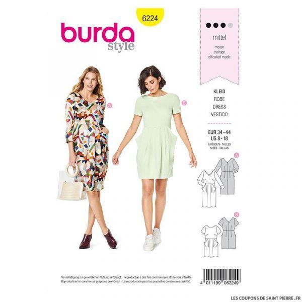 Patron Burda n°6224: Robe – encolure en V