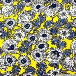 Satin polyester imprimé fleurs pop fond jaune fluo