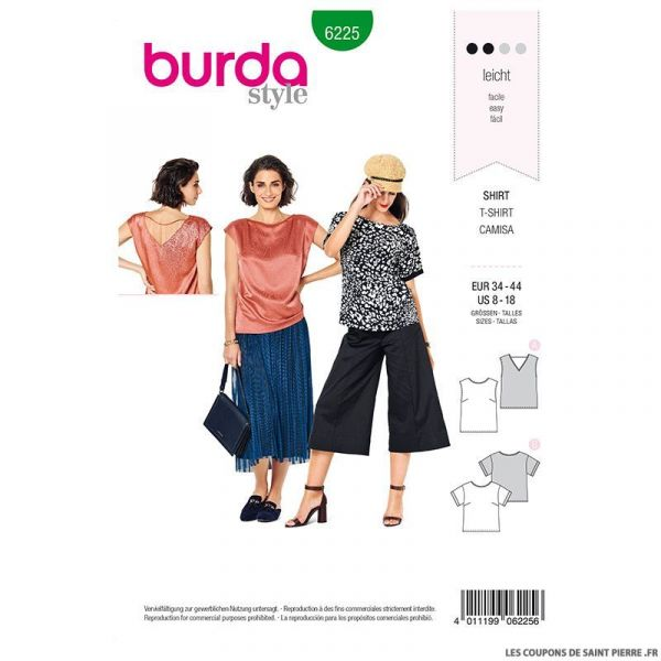 Patron Burda n°6225: Blouse