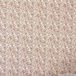 Popeline de coton imprimée minis champs de fleurs marrons