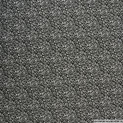 Popeline de coton imprimée fleurs minimalistes noir