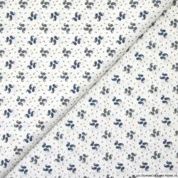 Popeline de coton imprimée  trios cachemires bleu-gris