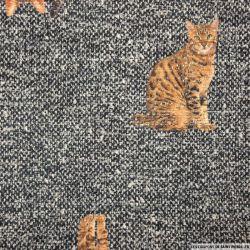 Jacquard polycoton imprimé chat fond gris