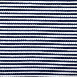 Jersey côtelé polyester fines rayures marine et blanc