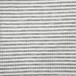 Jersey côtelé polyester fines rayures gris et blanc