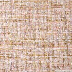 Tweed polyester fantaisie rose chiné fils irisés