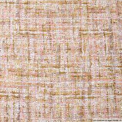 Tweed polyester fantaisie rose chiné fils irisés
