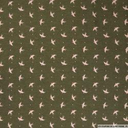 Satin polyester imprimé hirondelle fond kaki