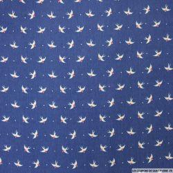 Satin polyester imprimé hirondelle fond bleu
