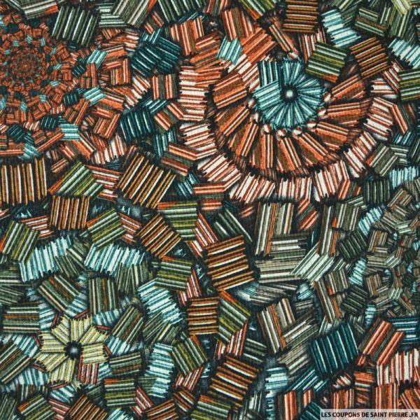 Crêpe polyester imprimé bibliothèque graphique