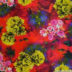 Satin de soie imprimé bucolique fleurs jaunes