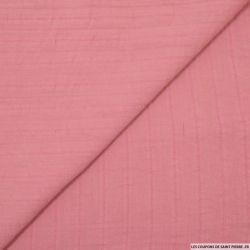 Coton lavé brodé vieux rose