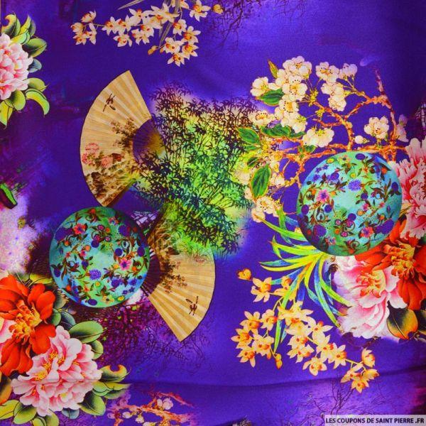 Satin de soie imprimé bucolique soleil levant violet