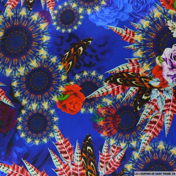 Satin de soie imprimé bucolique plume fond bleu