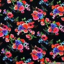 Viscose imprimée bouquets de fleurs fond noir