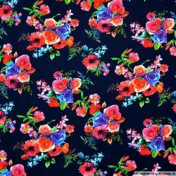 Viscose imprimée bouquets de fleurs fond marine