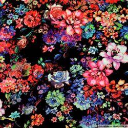Viscose imprimée jardin de fleurs fond noir