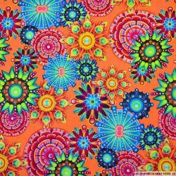 Viscose imprimée hippie fluo fond orange