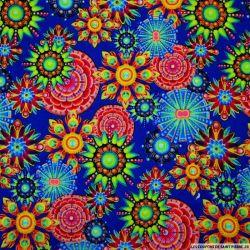 Viscose imprimée hippie fluo fond bleu roi