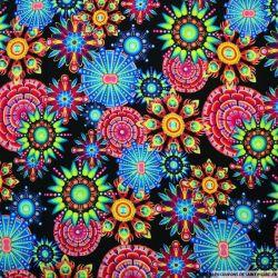 Viscose imprimée hippie fluo fond noir