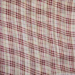 Mousseline polyester dévorée rayée irisée quadrillage bordeaux