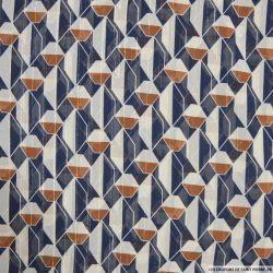Mousseline polyester dévorée rayée dorée géométrique camel et marine