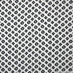 Viscose imprimée petit totem noir fond blanc