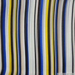 Mousseline polyester rayée irisée jaune, bleu et noir
