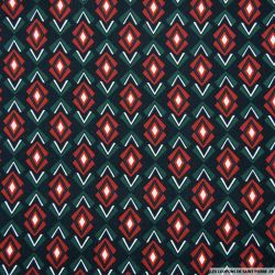 Crêpe polyester imprimé fleches graphique fond marine