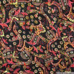 Mousseline polyester rayée irisée dévorée fleuris fond noir