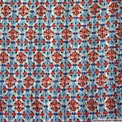 Satin polyester imprimé totem multicolore