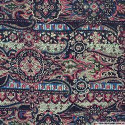 Mousseline polyester rayée irisée dévorée mandala