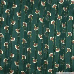 Mousseline polyester rayée irisée dévorée éventail fond vert