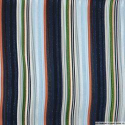 Mousseline polyester rayée irisée dévorée bleu, vert et terracotta