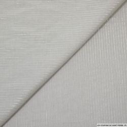 Voile de coton gris perle fines rayures irisées argent