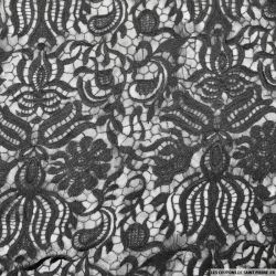 Dentelle polyester grandes fleurs noir