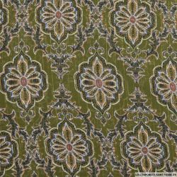 Mousseline polyester rayée irisée arabesque fond kaki