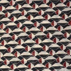 Mousseline polyester rayée irisée mosaique noir et brodeaux