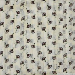 Mousseline polyester rayée irisée dévorée éventail fond écru