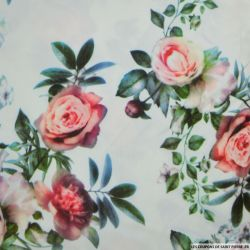 Scuba imprimé floraux fond blanc