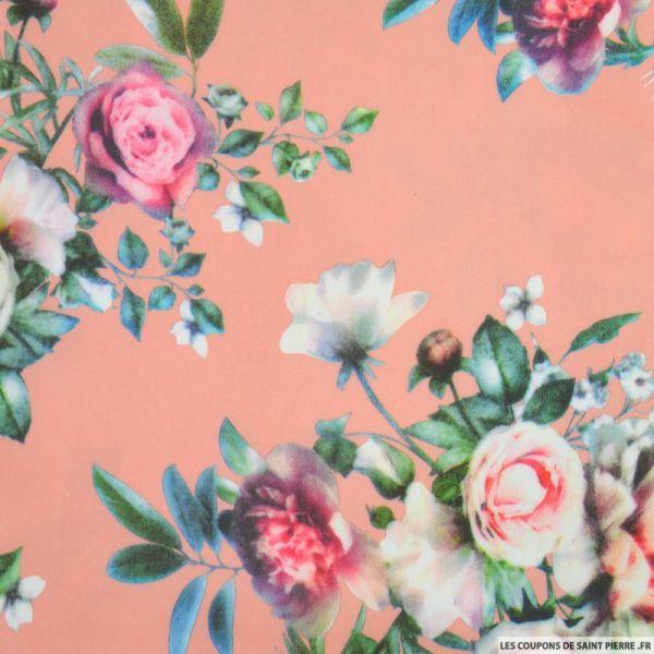 Scuba imprimé floraux fond rose