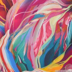 Scuba imprimé abstrait bleu et rose