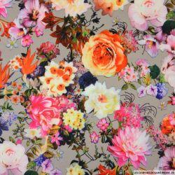 Maille Milano imprimé fleurs des îles fond taupe