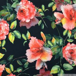 Crêpe polyester imprimé roseraie fond noir